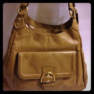 Coach Campbell leather hobo F24686 tan